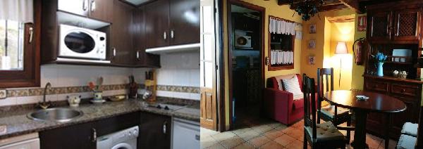 Imagen que muestra la cocina y el salón de La Casina del Fornu