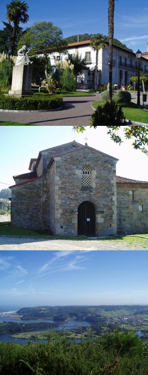 Imagen que muestra algunas recomendaciones del entorno de la Casona de Pravia: Pravia, el mirador y Santianes